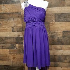 Deb purple formal one shoulder dress 14